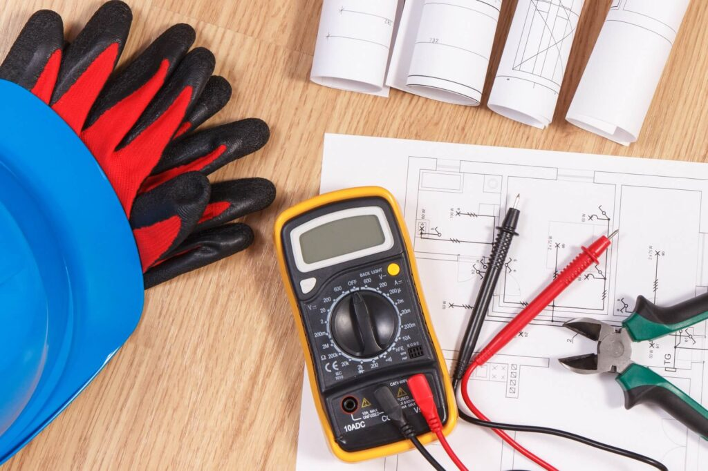 electrical drawings multimeter for measurement in electrical installation
