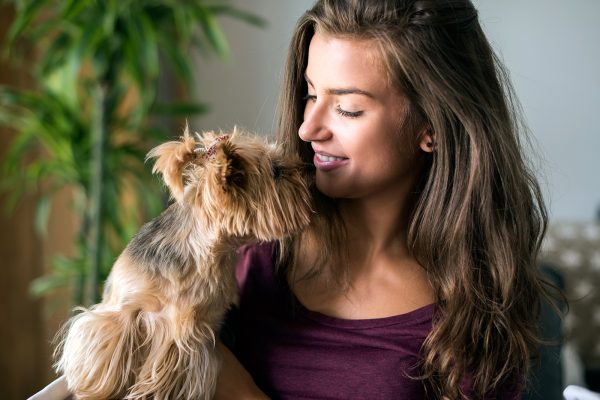 strong bond between a woman and her cute dog XBHUGZH